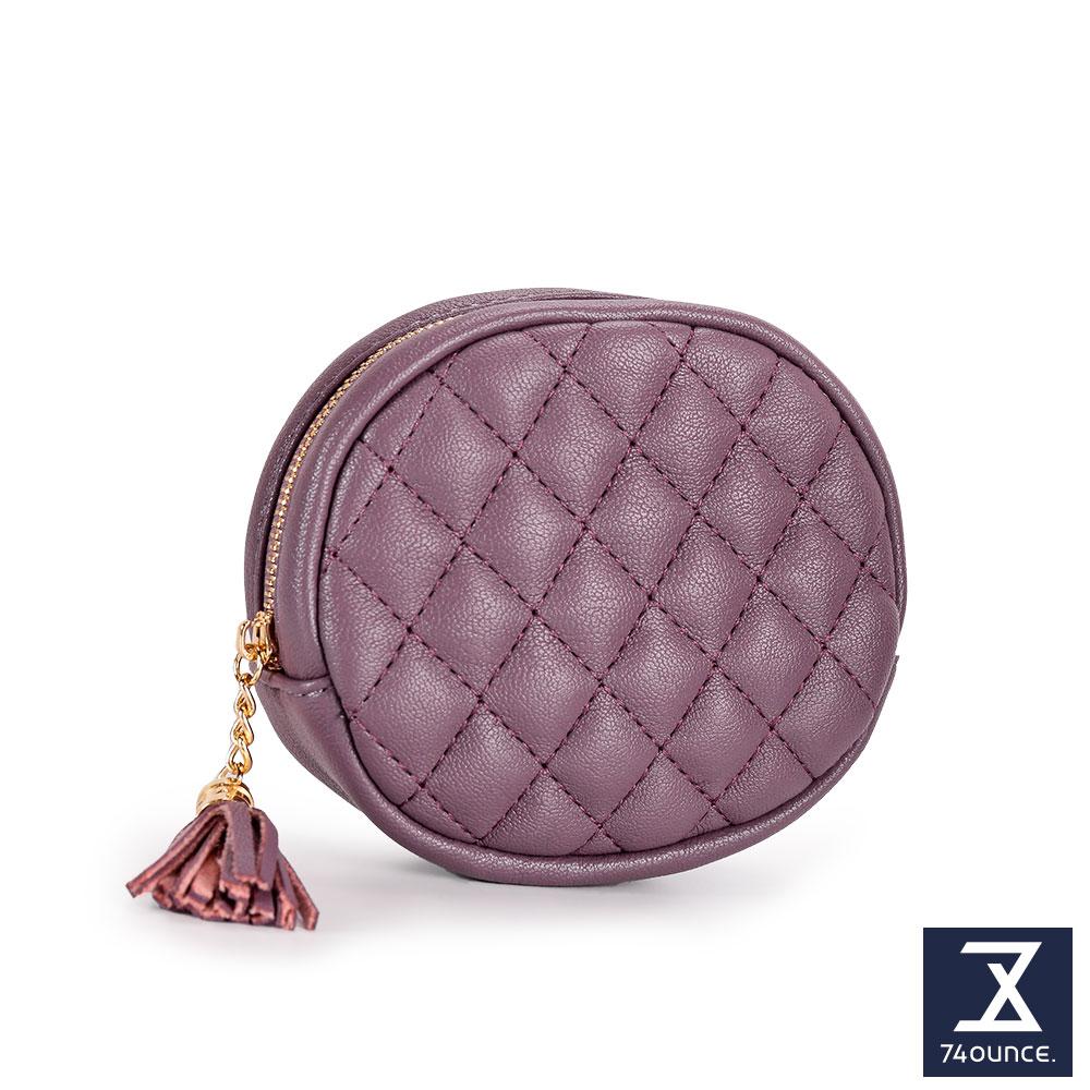 74盎司 菱格紋流蘇橢圓零錢包[LN-716]紫