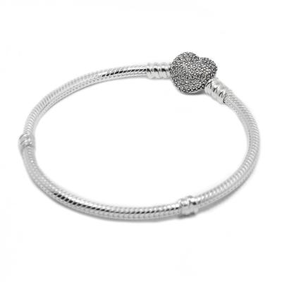 Pandora 潘朵拉 鑲鋯愛心蛇鍊 925純銀手鍊手環