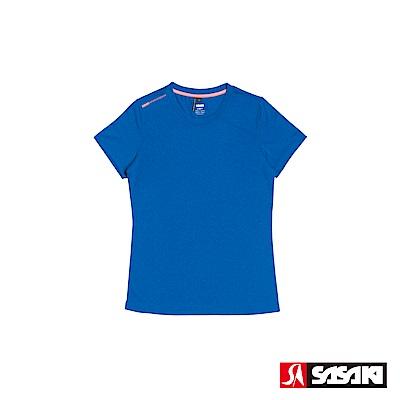SASAKI 抗紫外線速乾吸排功能休閒圓領短衫-女-雷霆藍/豔桔