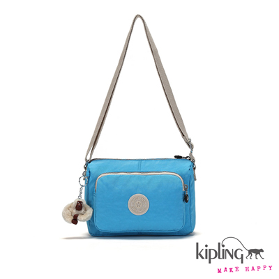 Kipling-斜背包-空氣藍素面