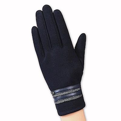 幸福揚邑 防風觸控手套加絨保暖機車手套-皮飾男款-深藍
