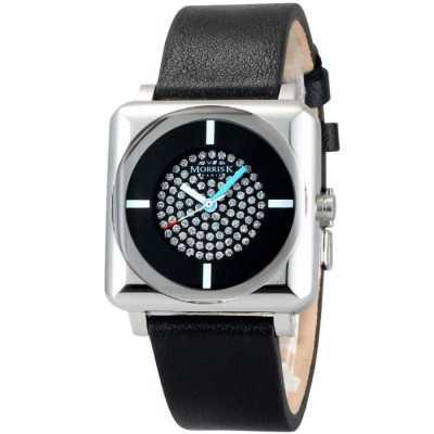 MORRIS K 時尚SHOW潮流愛不單行晶鑽錶-黑x亮銀/34mm
