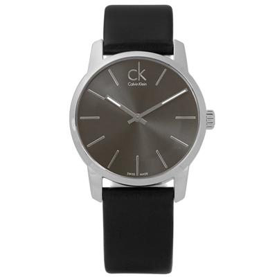 CK 城市時尚大面徑弧型切面皮革女錶-灰x黑/31mm