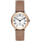 Marc Jacobs Riley 城市小秒針手錶-玫塊金框x棕色/36mm