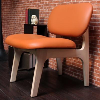H&D JUDY 茱蒂簡約休閒椅/單人椅/皮椅-愛瑪仕橘