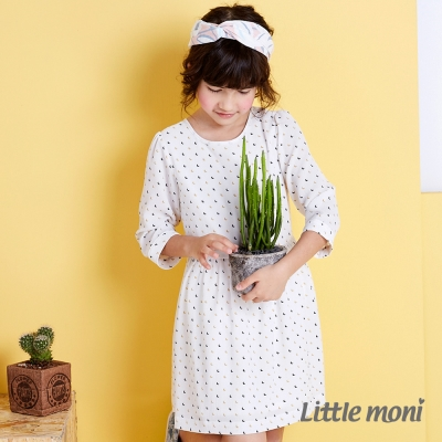 Little moni 清新典雅幾何七分袖洋裝 象牙白