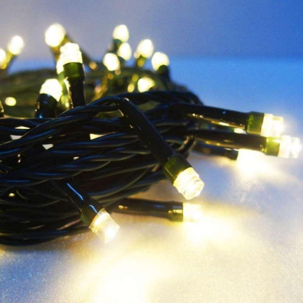 50燈LED燈串聖誕燈(暖白光/綠線)(附控制器跳機)(高亮度又省電)