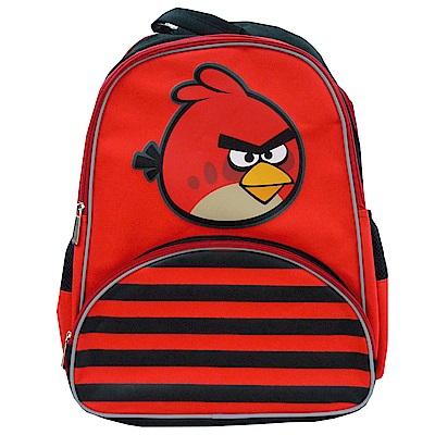 Angry Birds 憤怒鳥多功能條紋雙層護脊後背包(黑)B1