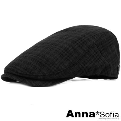 【<b>2</b>件69折】AnnaSofia 經典低調密格 棉質鴨舌帽小偷帽(酷黑系)