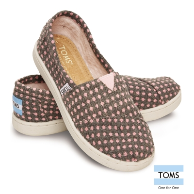 TOMS 可愛點點帆布懶人鞋-孩童款
