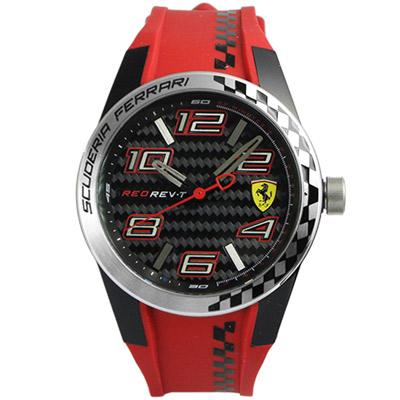 Scuderia Ferrari 法拉利 超越極限碳纖維紋運動錶-紅/44mm