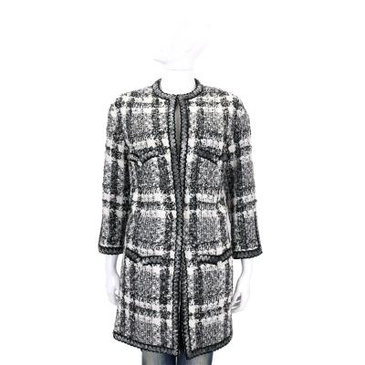 EDWARD ACHOUR PARIS 黑白格紋毛呢大衣外套