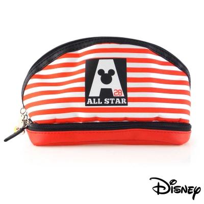 Disney迪士尼可愛撞色雙層收納/化妝包-條紋米奇all star