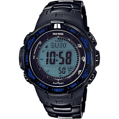CASIO 卡西歐 PRO TREK 專業登山太陽能電波手錶-藍/56mm