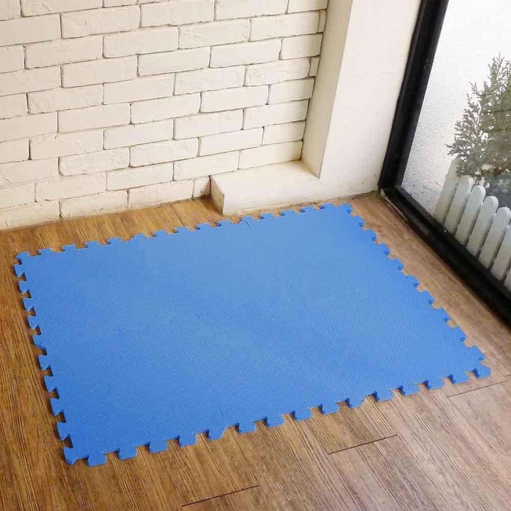 【新生活家】EVA素面巧拼地墊32x32x1cm-藍色 8入