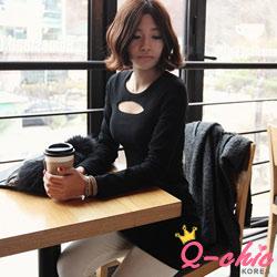 【Q-chic】性感挖空合身剪裁連身裙 (黑色)