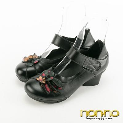nonno-復古皮雕花魔術氈中跟鞋-黑