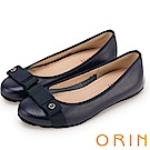 ORIN 微甜新時尚 織帶蝴蝶結牛皮平底娃娃鞋-藍色