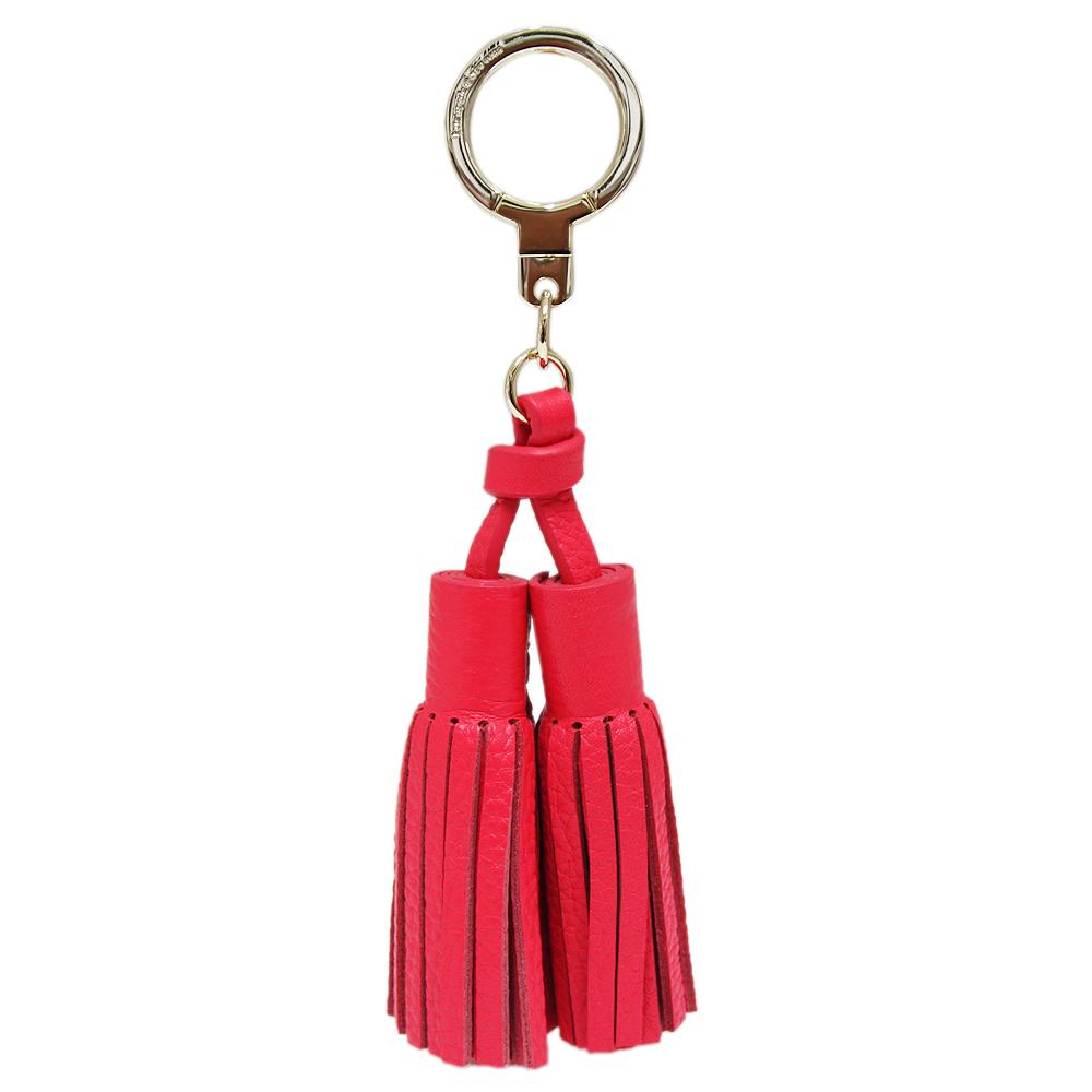 Kate spade 雙流蘇牛皮鑰匙圈/掛飾-蟹紅色