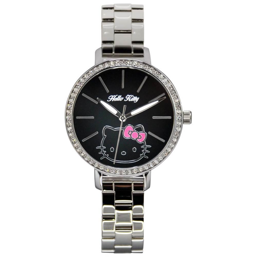 HELLO KITTY凱蒂貓晶鑽立體錶 銀/黑面/34mm