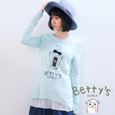 betty's貝蒂思 立體小蝴蝶結香水造型拼接雪紡針織衫(粉綠)