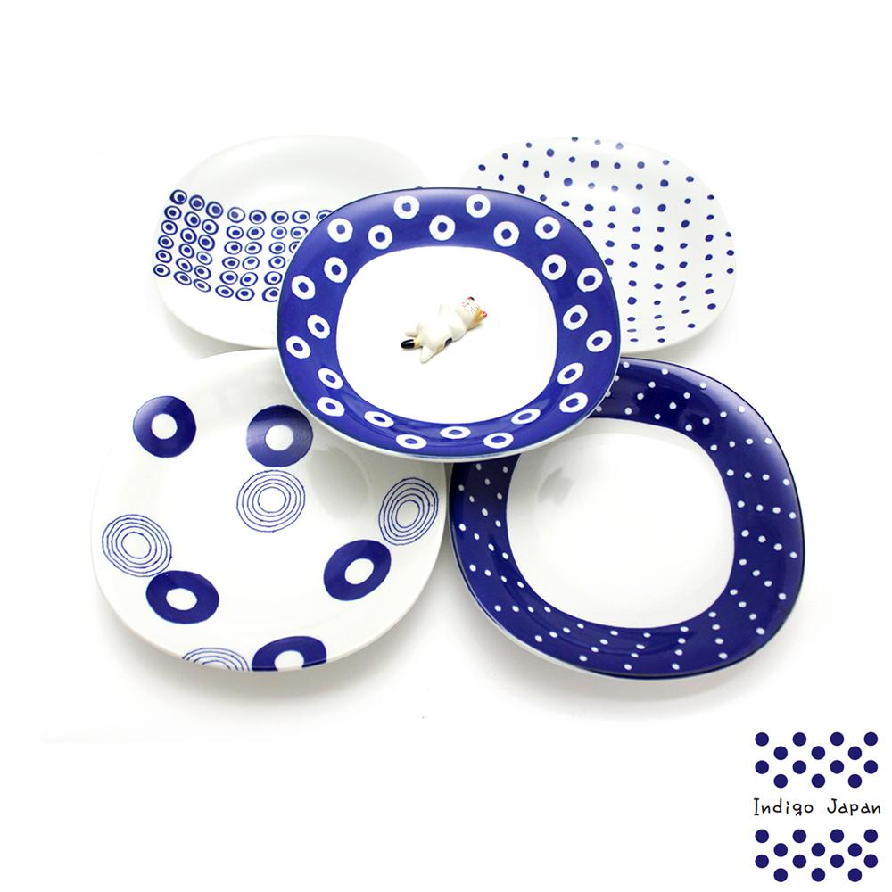 西海波佐見燒五入多用盤組-藍丸紋