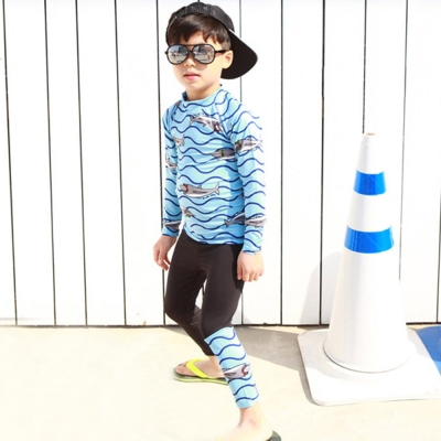 Biki比基尼妮泳衣   小鯊長袖泳衣男童兒童泳衣泳裝(M-4XL)