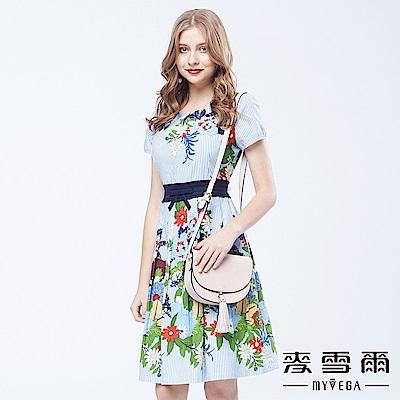 麥雪爾 純棉百花齊放秀麗直條洋裝