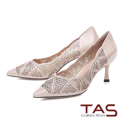 TAS雕花水鑽透膚尖頭高跟鞋-玫瑰金