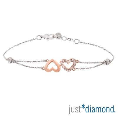 Just Diamond 18K雙色金鑽石手鍊-心相印