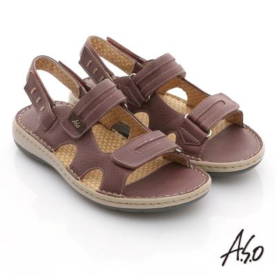 A.S.O 3D奈米系列 全真皮自黏帶氣墊涼鞋 深紫