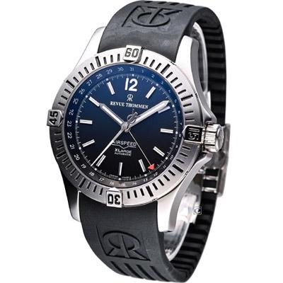 REVUE THOMMEN 梭曼飛官任務機械腕錶-黑/44mm