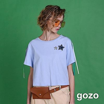 gozo 雙星STAR垂墜織帶裝飾上衣(三色)