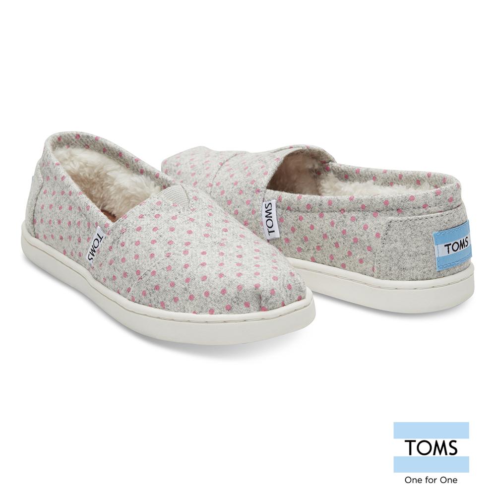 TOMS 點點刷毛懶人鞋-孩童款
