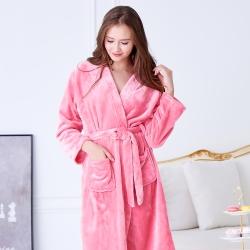 睡衣 極暖柔軟水貂絨女性長袖睡袍(29242)粉色-蕾妮塔塔