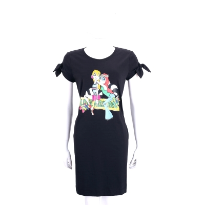 LOVE MOSCHINO 黑色兩個女孩圖騰棉質短袖洋裝