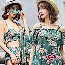 泳衣 蒼鬱花卉 三件式鋼圈比基尼泳裝(墨綠M~XL) AngelHoney天使霓裳