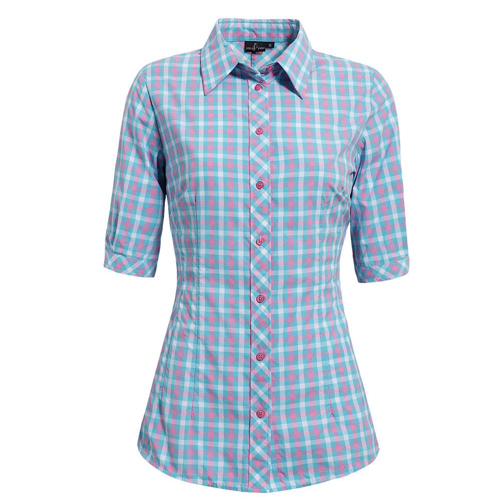 【hilltop山頂鳥】女款吸濕快乾短袖襯衫S06F49-水藍/粉紅格子