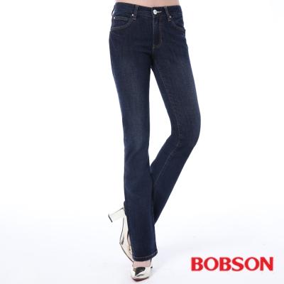 BOBSON   女款保暖膠原蛋白美肌小喇叭褲-藍色