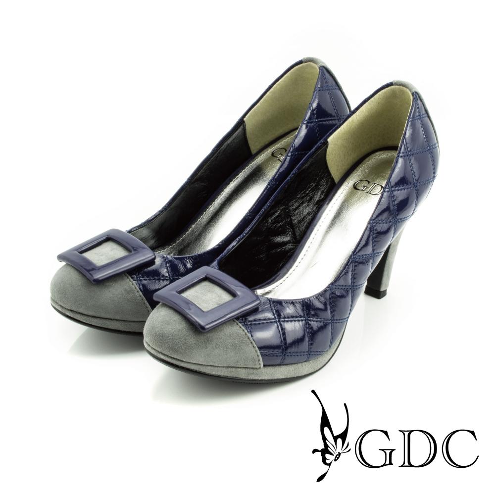 GDC-經典迷人方型飾釦亮面菱格紋高跟鞋-藍色