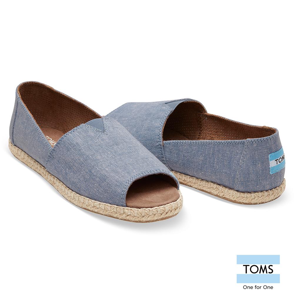 TOMS 露趾帆布草編休閒鞋-女款