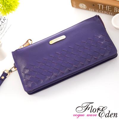 DF Flor Eden皮夾 - 巴黎簡約系列羊皮編織款單拉鍊手拿式長夾-羅蘭紫