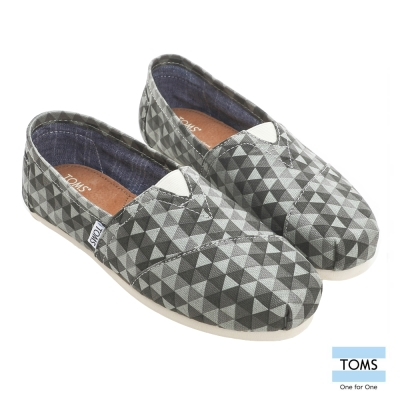 TOMS 格菱紋帆布懶人鞋-女款(灰)