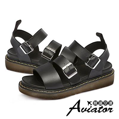 Aviator*韓國空運-PAPERPLANES質感金屬皮革釦帶厚底涼鞋-黑