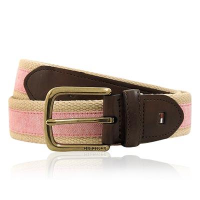 TOMMY 粉紅色厚織帆布紳士皮帶-M/L/XL號