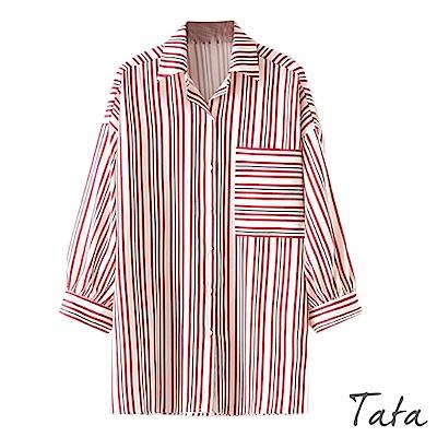 九分寬袖條紋上衣 TATA