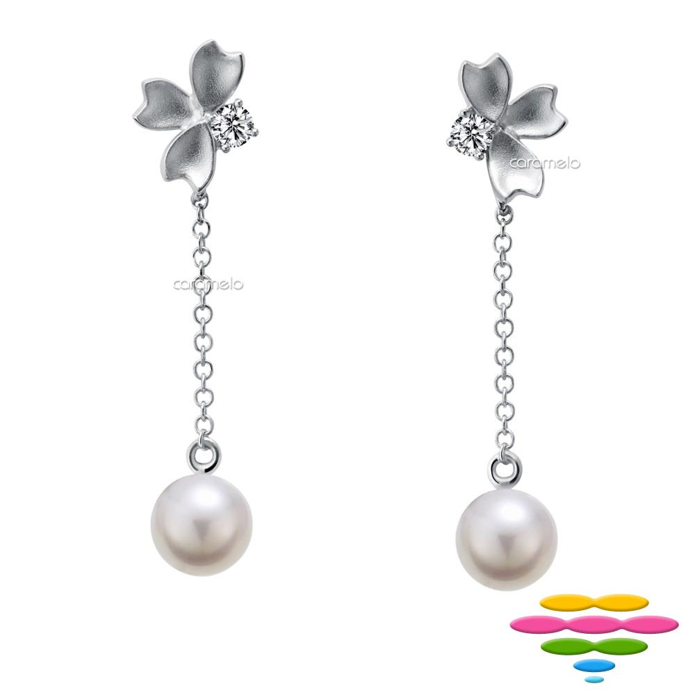 彩糖鑽工坊 淡水珍珠&鑽石 櫻花耳環 櫻花系列