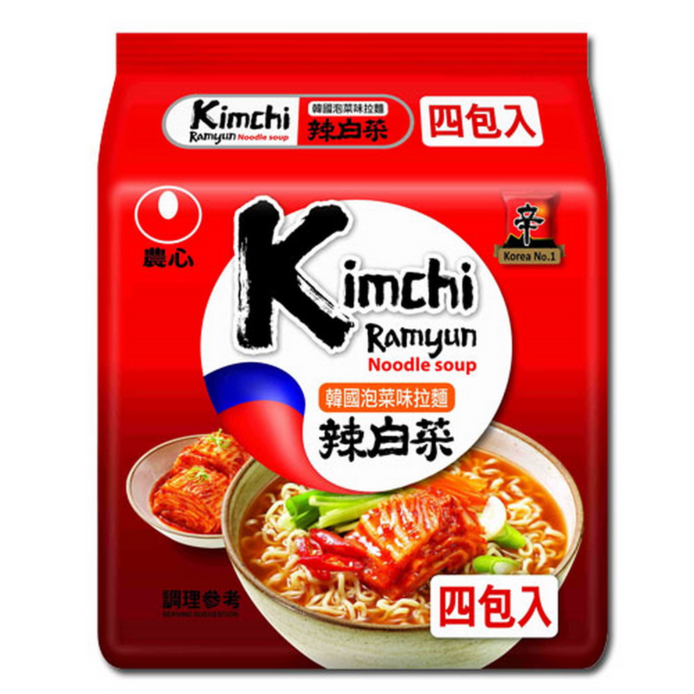 農心 韓國泡菜味拉麵(120gx4包)