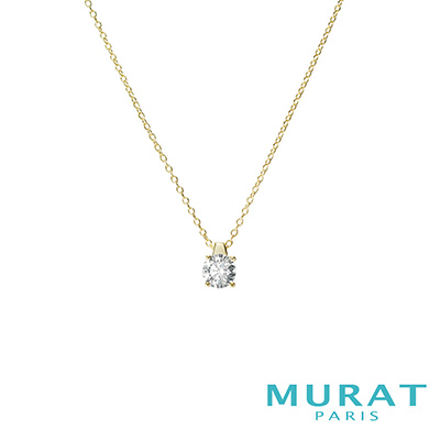 MURAT Paris米哈巴黎 優雅圓形單鑽項鍊(金色款)