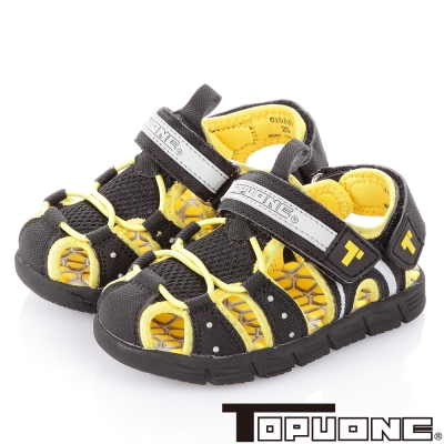 TOPUONE 舒適減壓吸震休閒涼鞋童鞋-黑(中小童)
